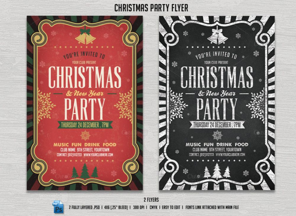 Christmas Party Invitation Flyer Templates   Christmas