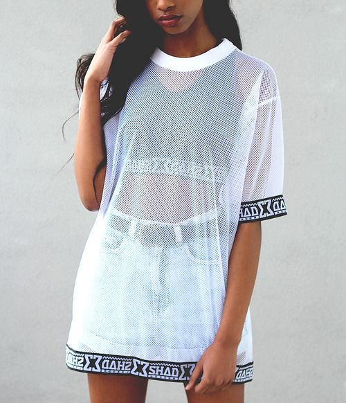 Denim Mini Skirt. Mesh Top. 90s Style Fashion. Urban ...