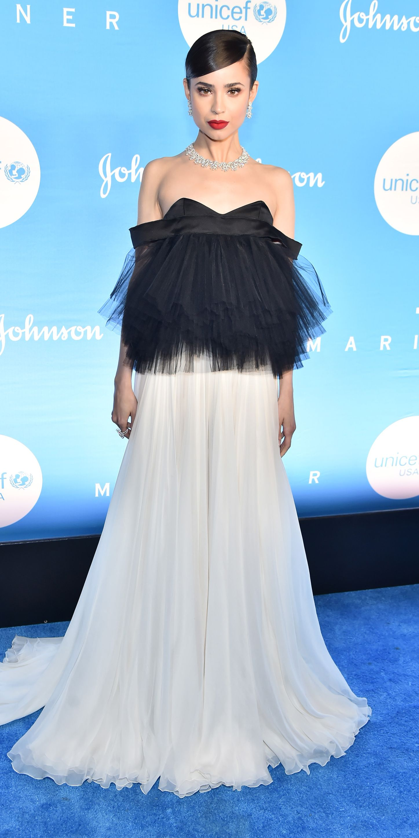 Sofia Carson wore a Giambattista Valli tulle gown and Chopard jewels to the UNICEF Snowflake Ball