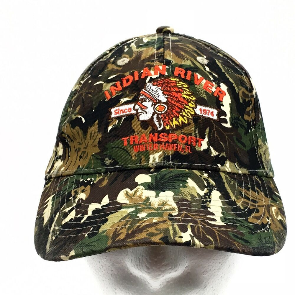 7718fb3a25989 Indian River Transport Native American Logo Camo Strapback Hat Cap Trucking  Co  fashion  clothing  shoes  accessories  mensaccessories  hats (ebay link)