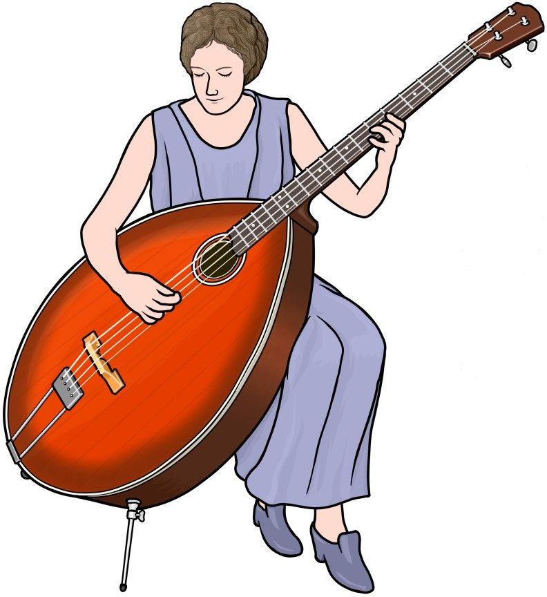 楽器のイラスト マンドベースを演奏する女性 Mandobass Bass
