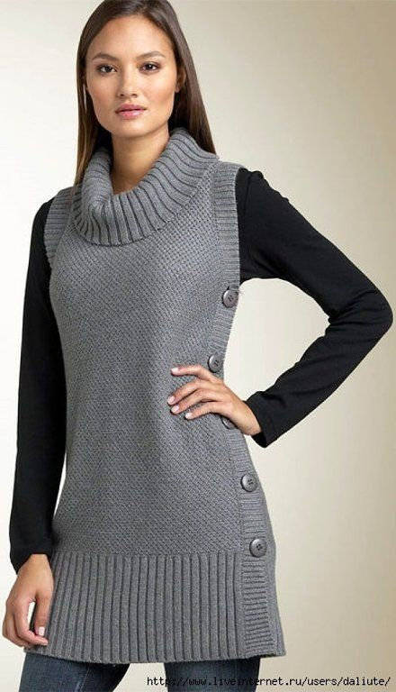 ampliar rectangle tunic sweater with side buttons   Winter
