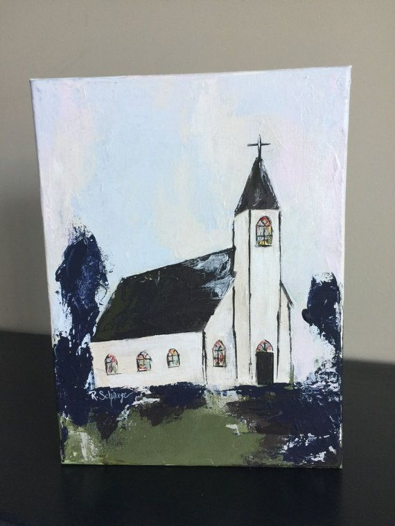 Old Country Church Painting Abstract Art Original Palette Knife