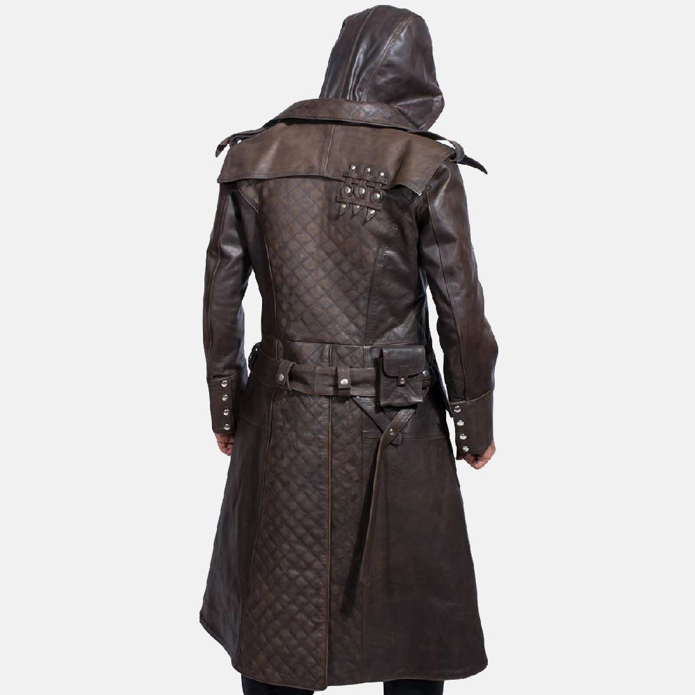 Assassin/'s Creed Brown Genuine Leather Men/'s Trench Coat