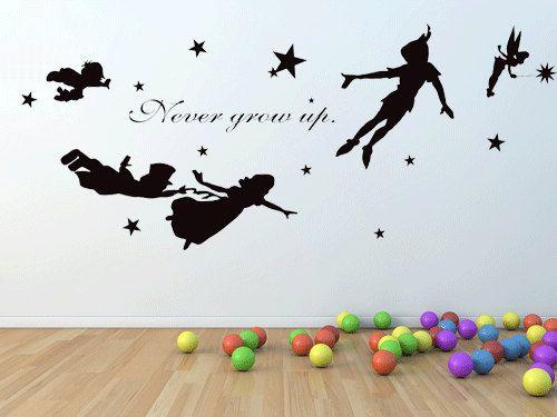 Adesivi Murali Peter Pan.Peter Pan Never Grow Up Wall Decal Mural Stickers Wall Art
