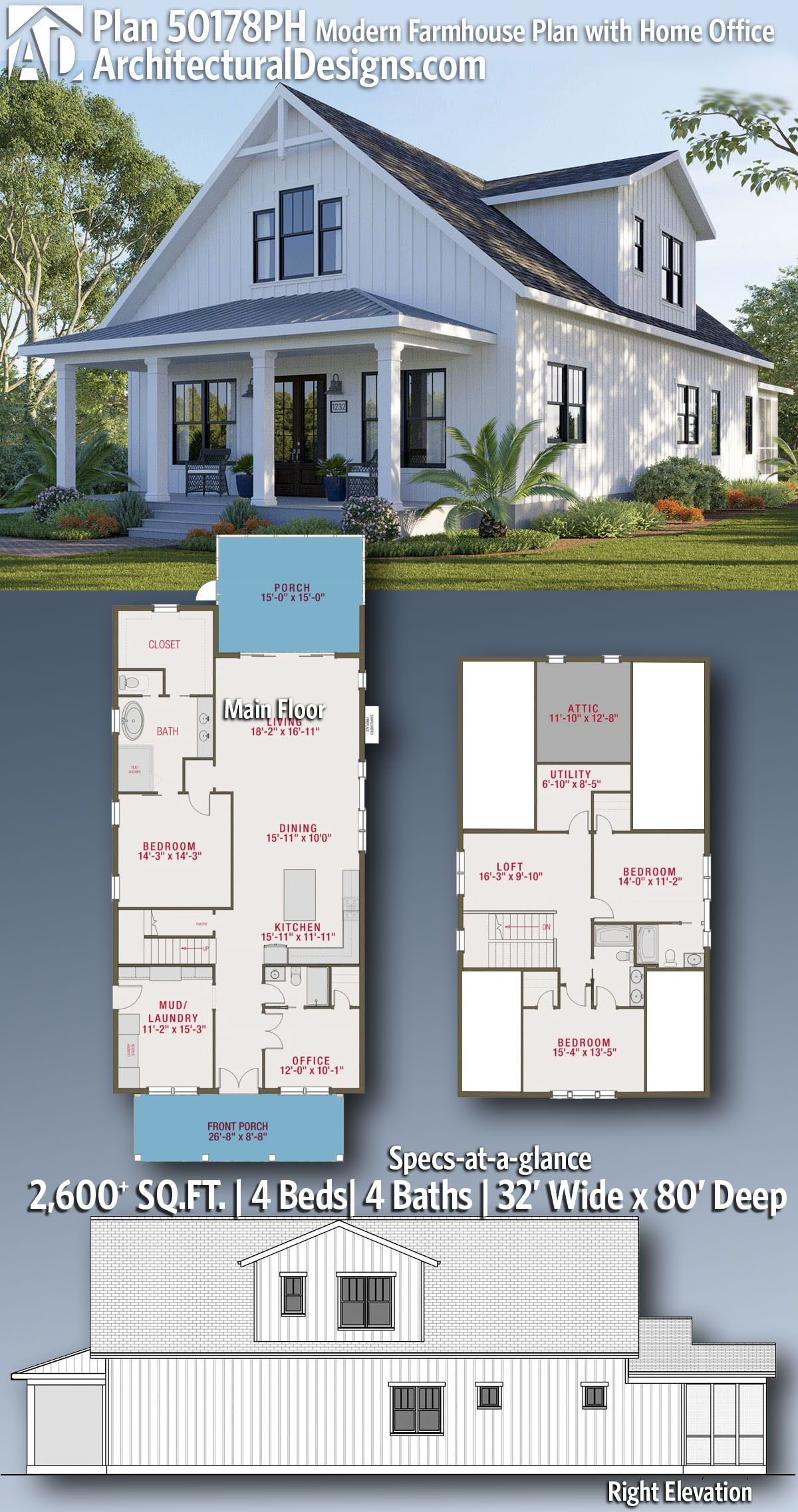 Plan 50178ph Modern Farmhouse Plan With Home Office House Plans Farmhouse Farmhouse Floor Plans Sims House Plans