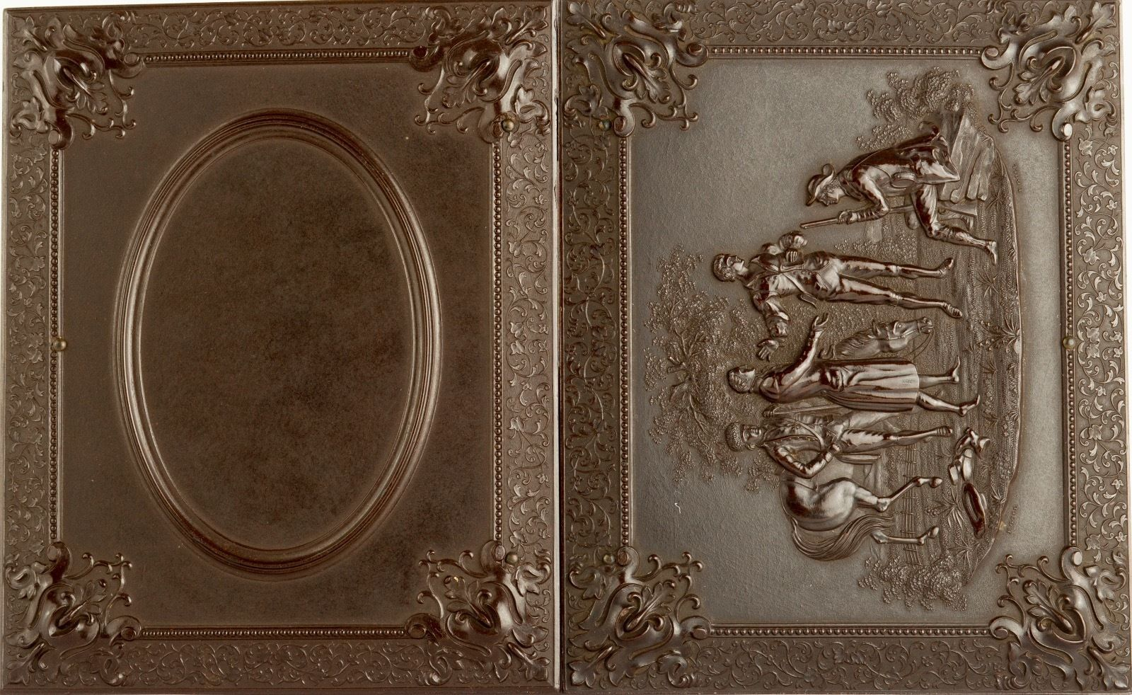 1850's Quarter Plate Multi-Tinted Double Ambrotype in Pictorial Union Case - SEE   eBay