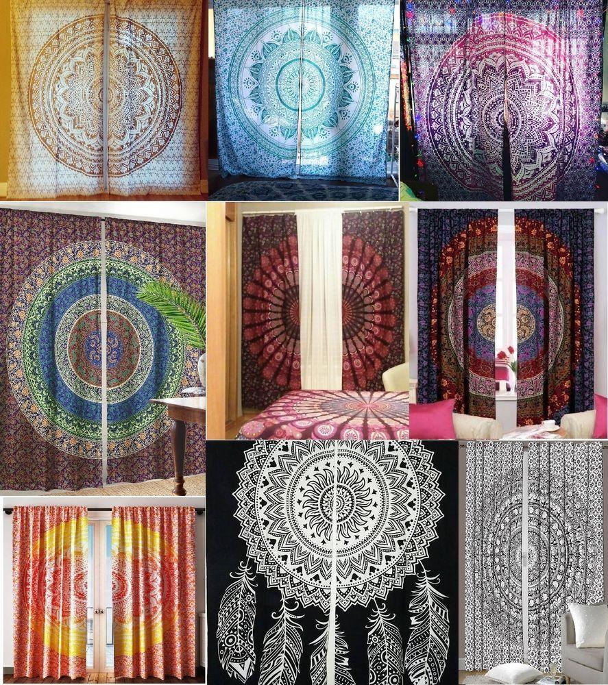 Indian Mandala Curtains Hippie Wall Drapes Bohemian Door Window Room Decor Art
