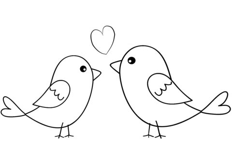 Two Birds In Love Coloring Page Bird Coloring Pages Valentine Coloring Pages Simple Bird Drawing