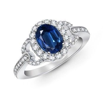 Angara Diamond Engagement Ring with Blue Sapphire Side Stones in Rose Gold