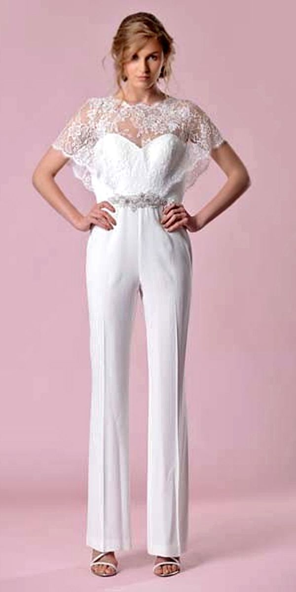 28 gorgeous wedding pantsuits and jumpsuits for brides for Wedding dress pant suits