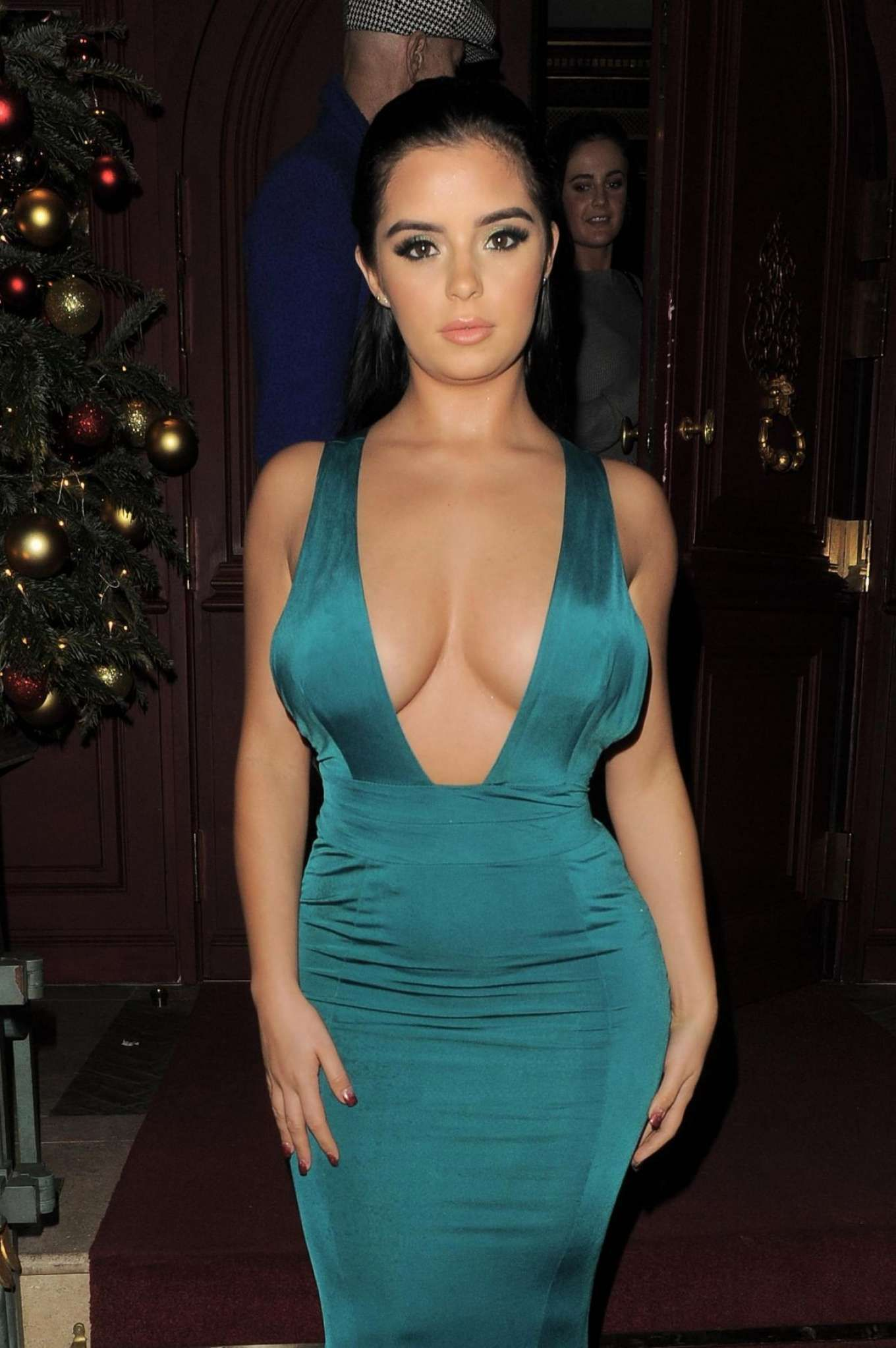 Green dress night out  Demi Rose in Green Dress u Night Out in Mayfair  Demi rose Boobs
