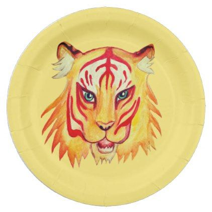 Tiger Face Drawing Custom Paper Plates 9 in - kitchen gifts diy ideas decor special unique  sc 1 st  Pinterest & Tiger Face Drawing Custom Paper Plates 9 in - kitchen gifts diy ...