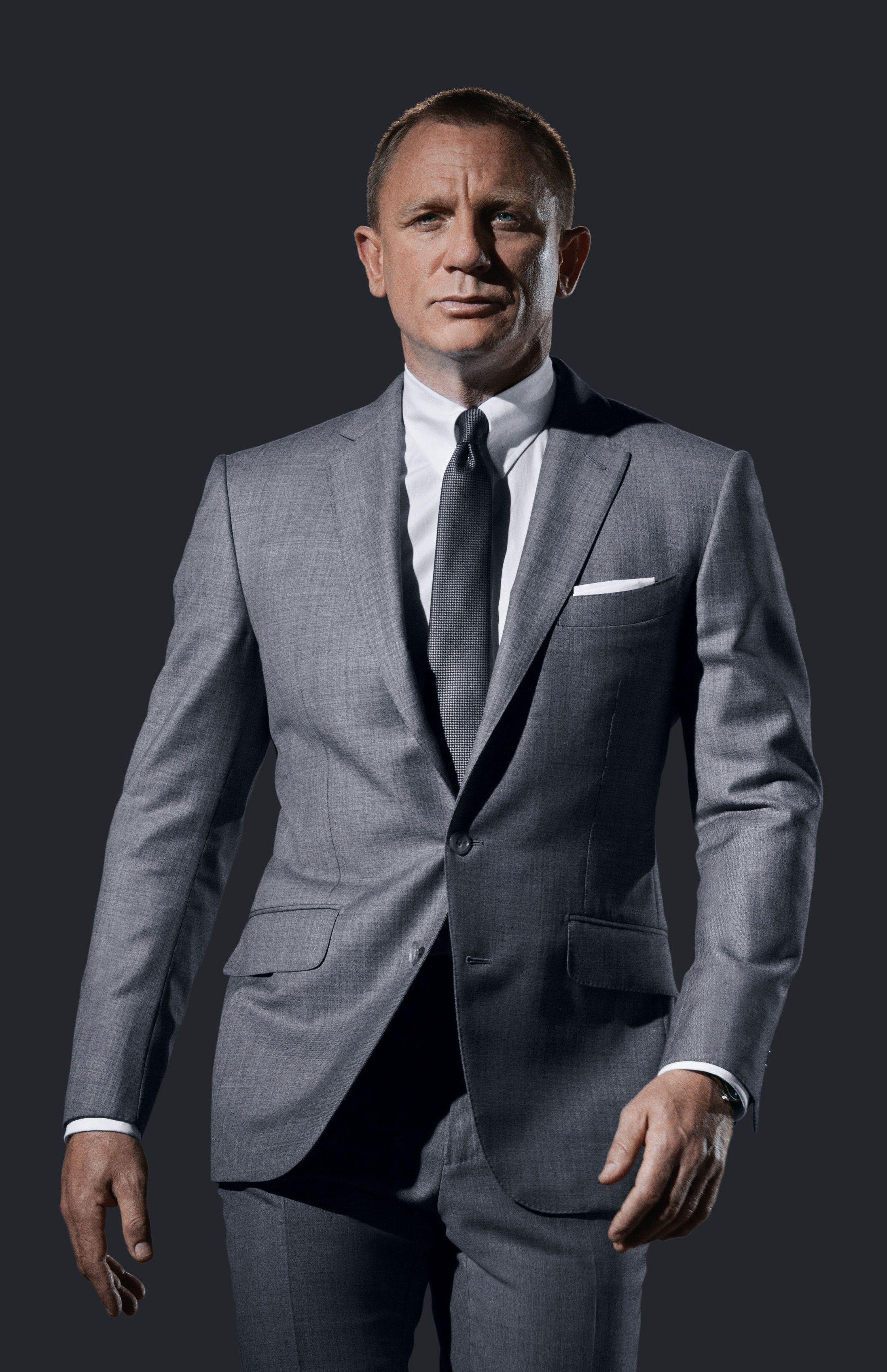 0896c53f363 Daniel Craig in grey sharkskin TOM FORD O Connor suit. Promo still for  SKYFALL. White French cuff tab collar shirt