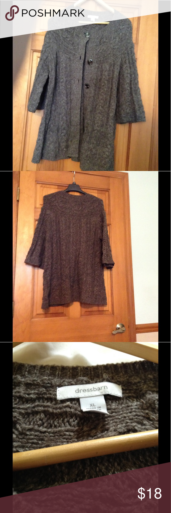 Dress Barn brown, button up long sweater. Dress Barn brown, long ...