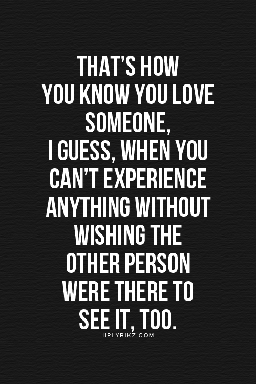 you know you love someone when