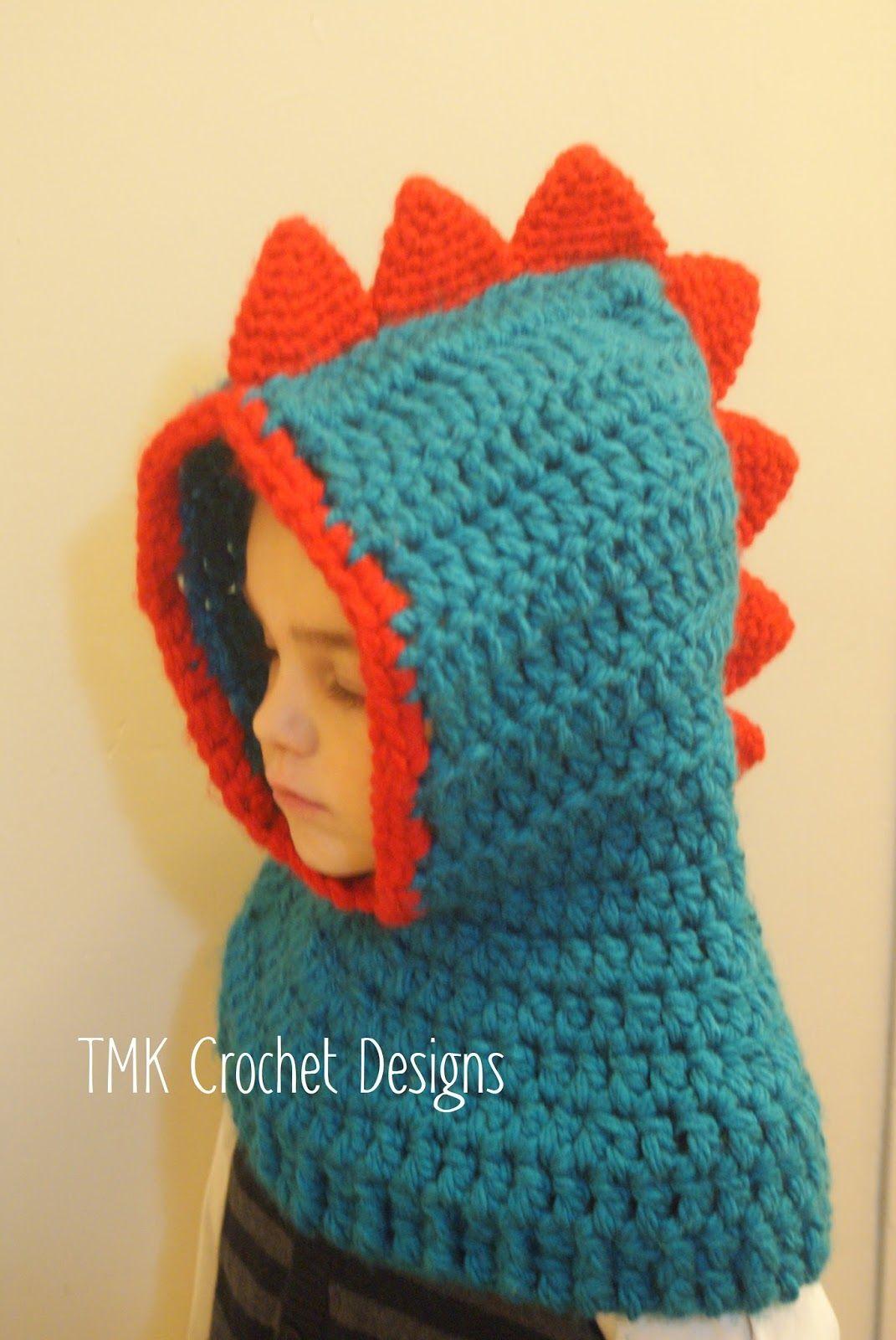TMK crochet: Crochet Hooded Dino Cowl Pattern Giveaway … | Crochet …