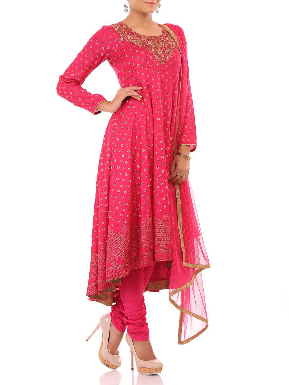 3ac5af2f888b63 Shop Fuschia Viscose Anarkali Suit Set online at Biba.in - SKD4209FUS