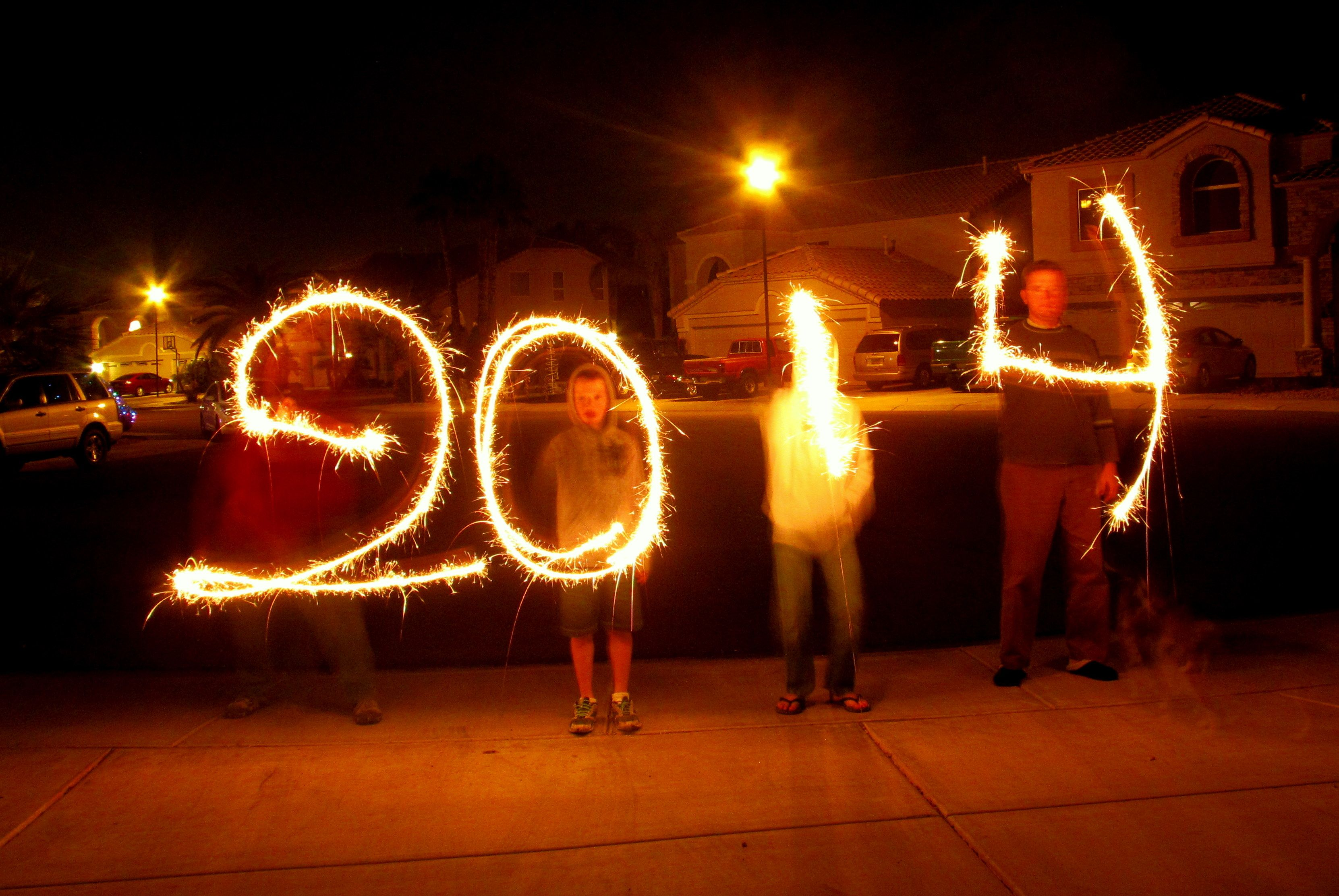 Happy New Year!Write the new year in sparklers