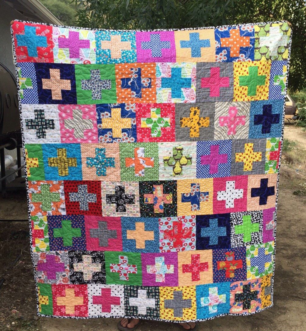 Colorful plus quilt, modern throw quilt, kids quilt, quilted throw ... : modern kids quilts - Adamdwight.com