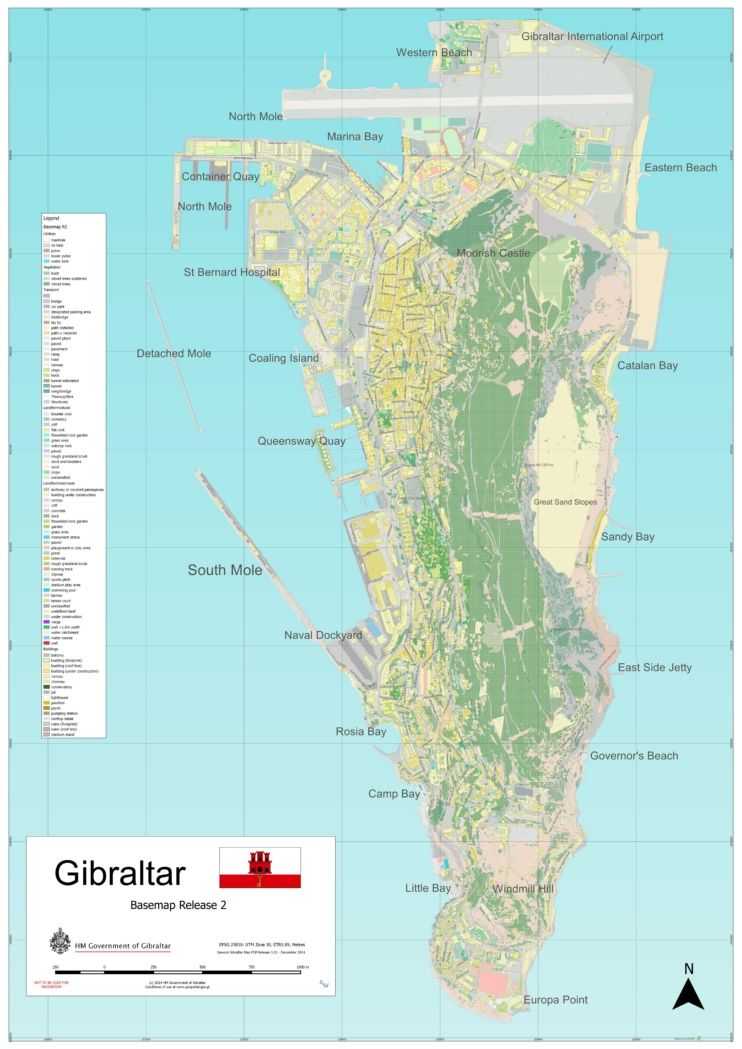 Large detailed map of Gibraltar Maps Pinterest