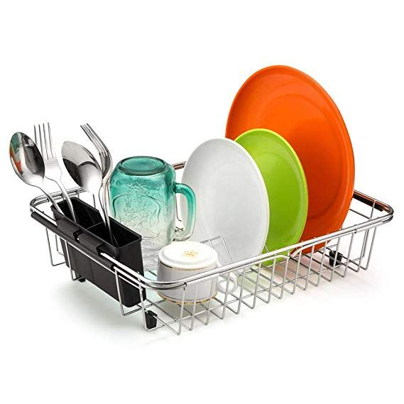 Dish Racks SANNO Large Drying Rack Deep Expandable Dishes Drainer Over The Sink