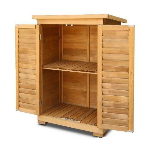 Outdoor Wooden Storage Cabinet Half Spacious Cupboard For Garden Garage Removable Shelf Wood Living Room Decor Garden Storage Cabinet Wooden Garden Storage