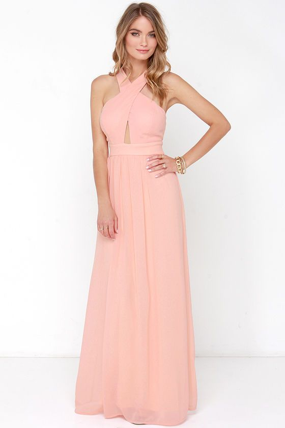Chimerical Creation Peach Maxi Dress At Lulus