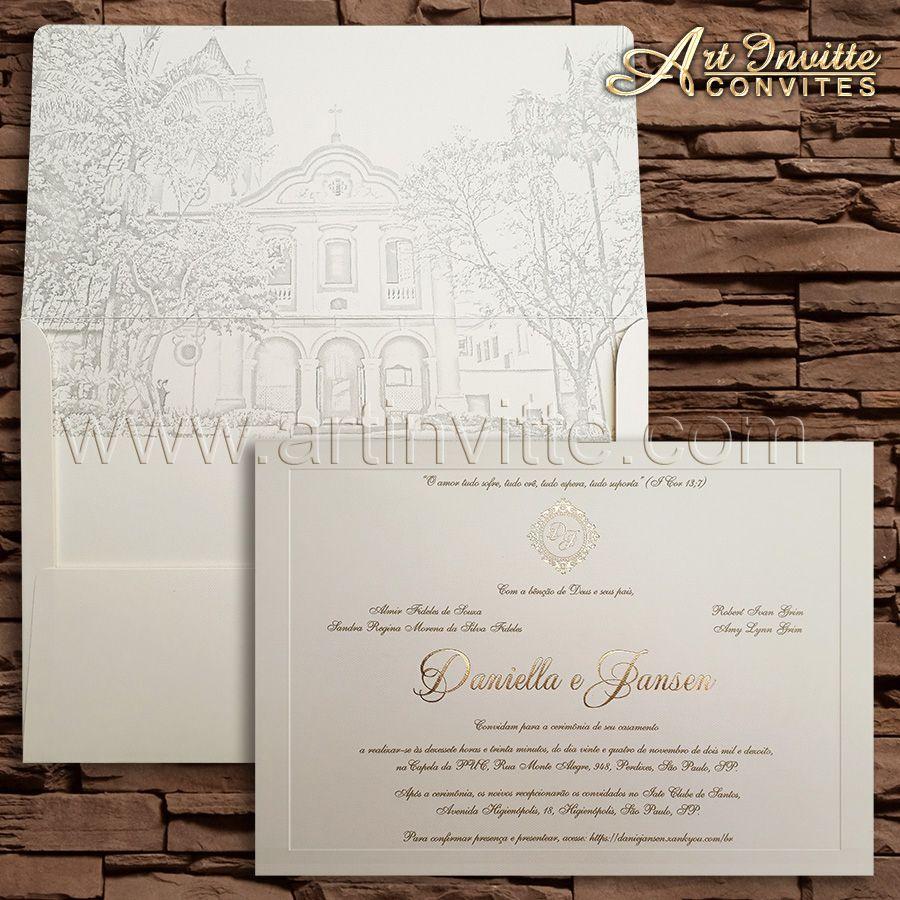 7c4657ac73c Convite de casamento tradicional Veneza VZ 113. Convite em papel Markatto  Concetto Naturalle 250g com