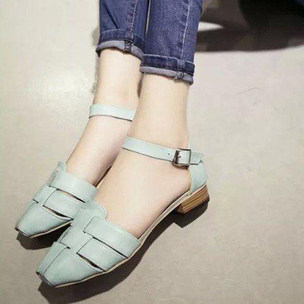 Vintage Retro Check Plaid Knitting Candy Color Korean Style Flat Sandals Korean Fashion Fashion Flats Korean Fashion Trends