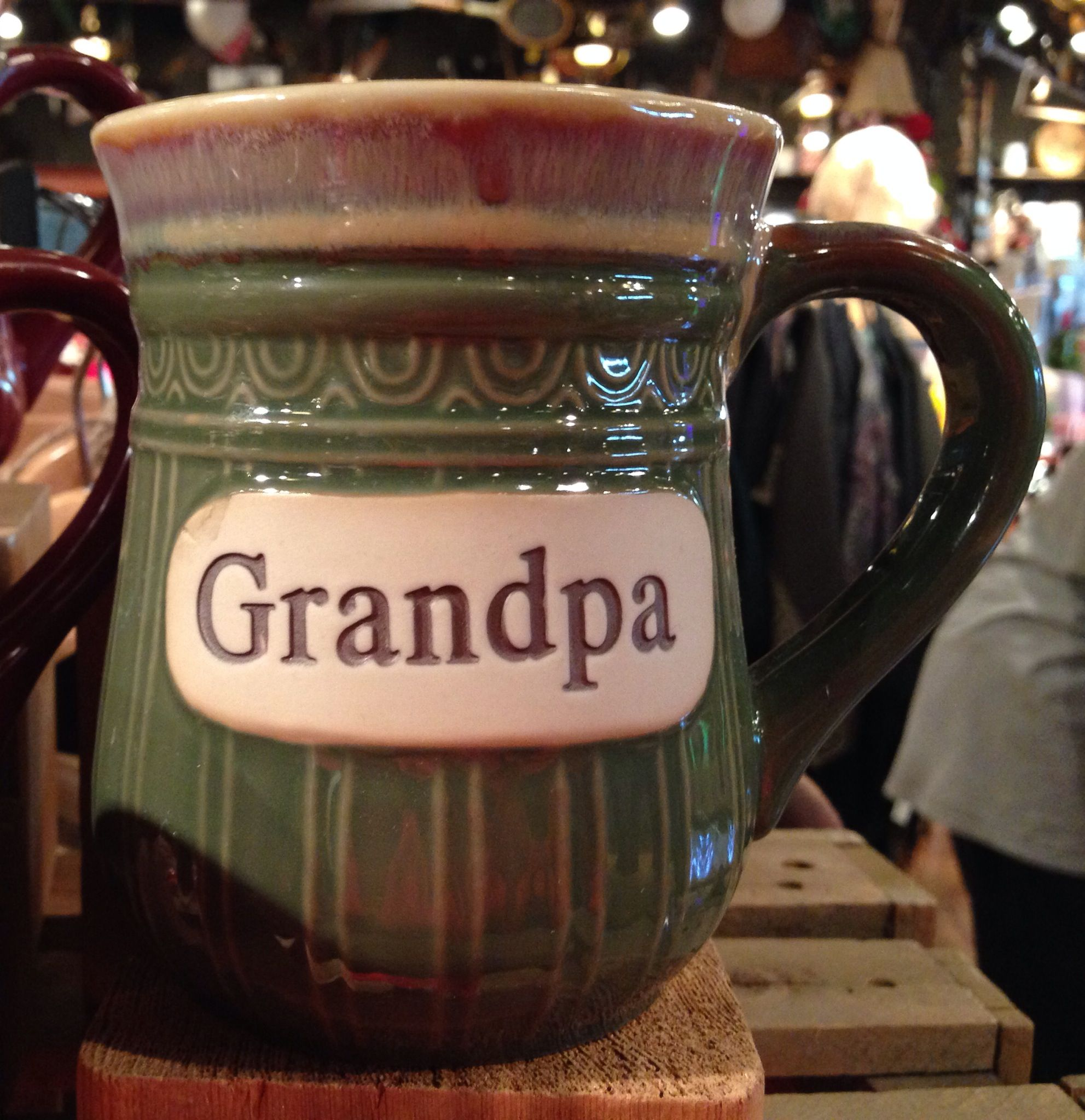 grandpa mug cracker barrel country store green stoneware mug