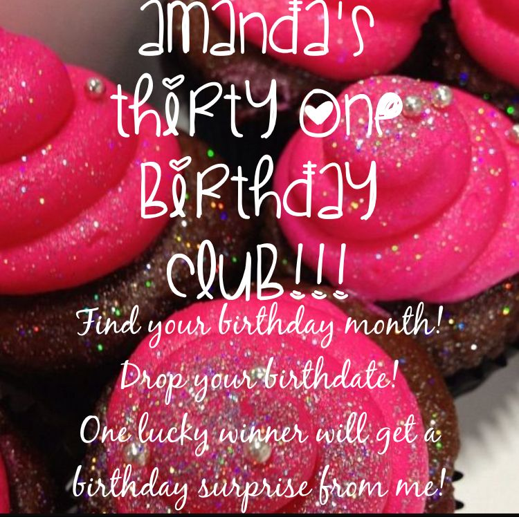 This is a great way to have some fun in your VIP customer group. Birthday club! Pick a random winner every month and send them a birthday card, mini catalog and a small gift! It's a great way to have fun and get engagement from your customers and get some catalogs out there!!! :-) Amanda's Totes Adorable Bags. Thirty one. Scentsy. Jamberry. LulaRoe. Cupcake. Birthday.