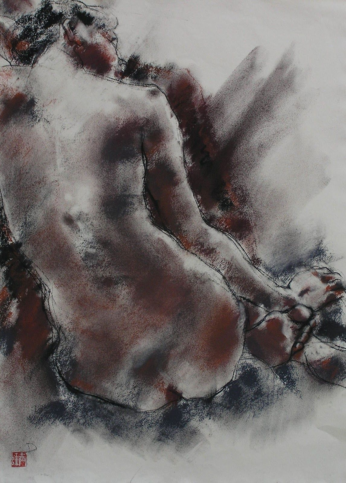 red-lipstick:  Caroline Deane (British) - Earth Pastel     Drawings: Pastels on Paper