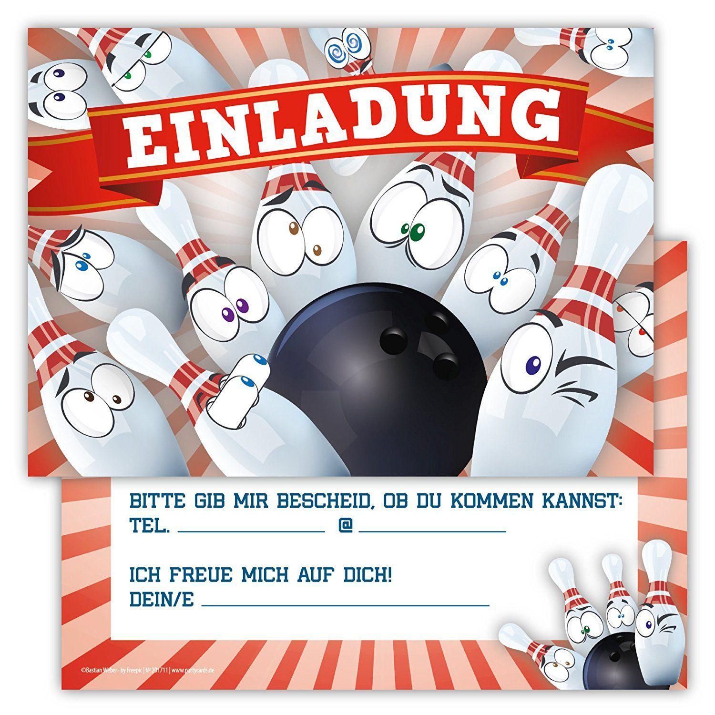 Kindergeburtstag kostenlos bowling einladung drucken Einladungskarte Kindergeburtstag