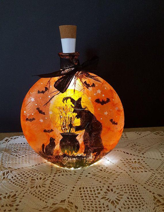 Halloween decor, home decor, lighted bottle, hand painted Halloween - halloween lighted decorations