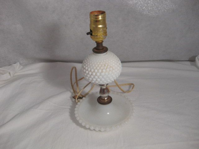 Beautiful Hobnail Milk Glass Table Lamp Without Shade