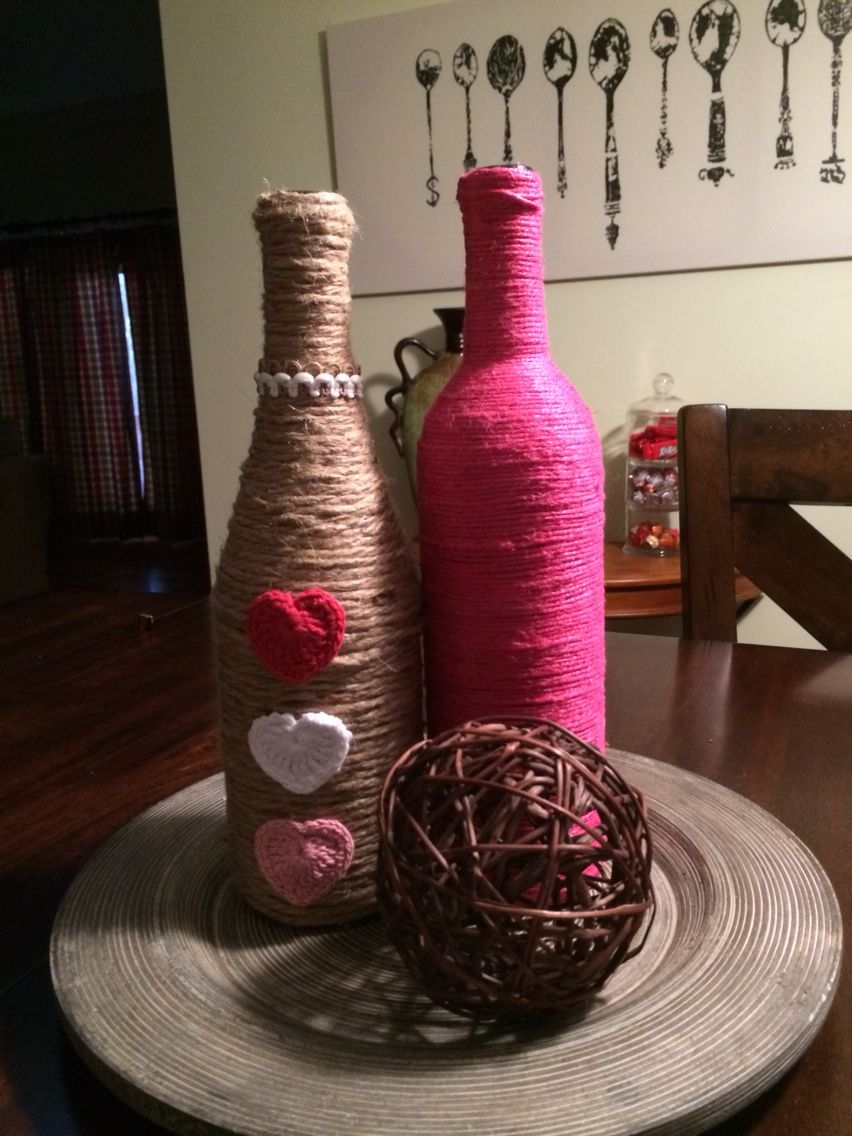 Jute Wrapped Wine Bottles Decorated For Valentine S Day Wine Bottle Crafts Bottles Decoration Bottle Crafts