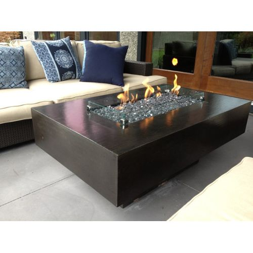 """30"""" x 48"""" fire pit table: gas fire pit table, fire glass crystals"""