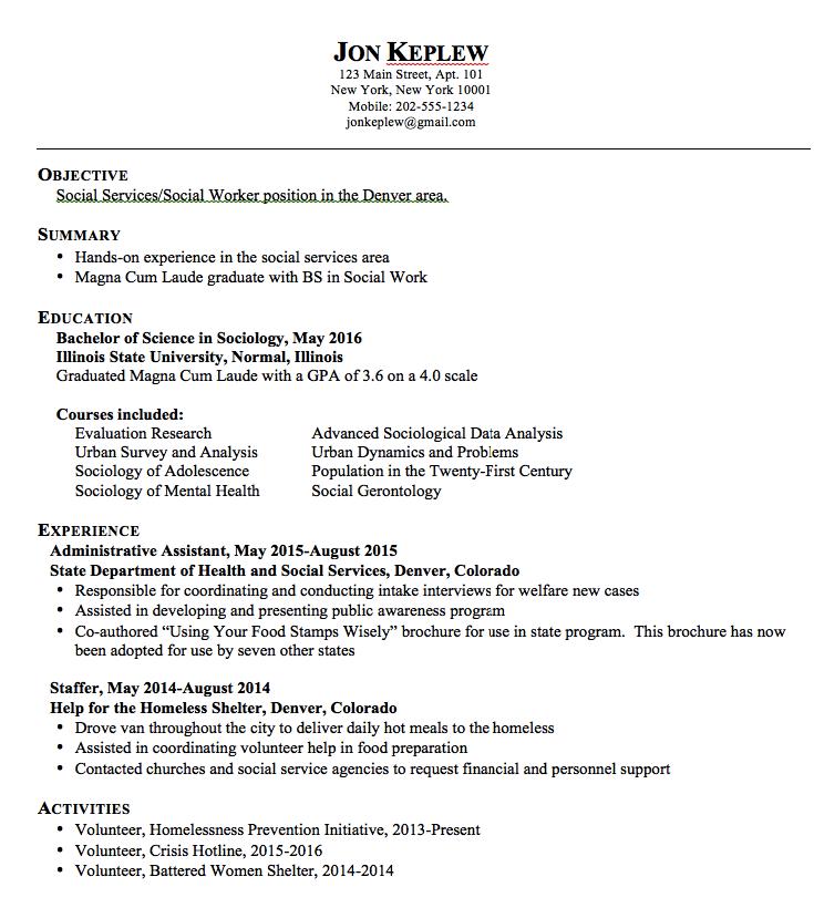 Sample Social Worker Resume Examples Resume Cv