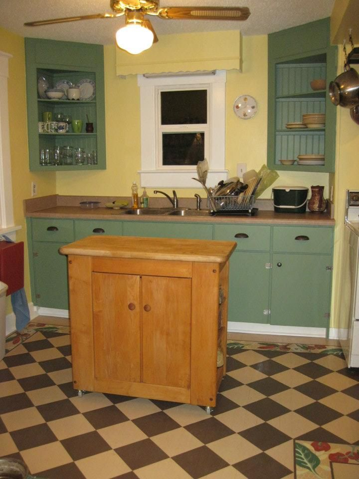stenciled floor and refinished cabinets   Refinishing ...