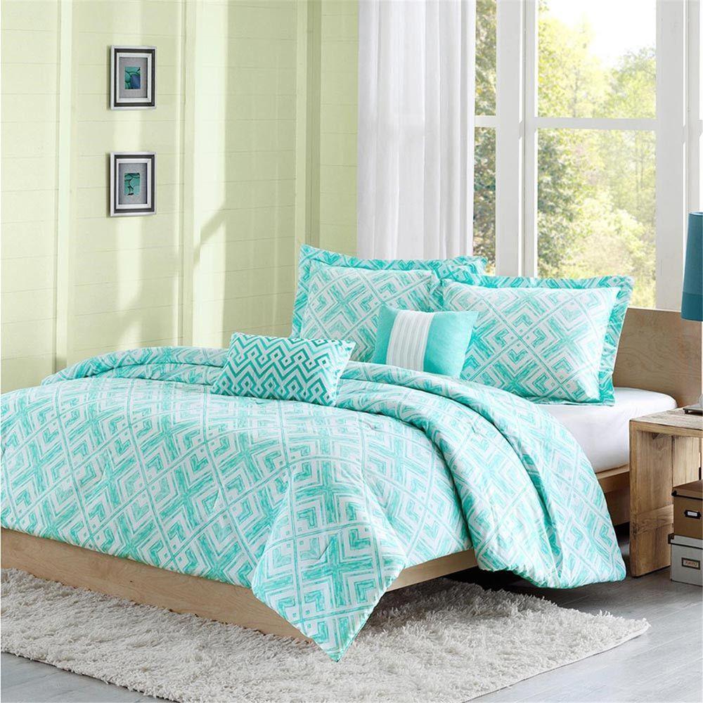 Intelligent Design Laurent Polyester Peach Skin Printed 5pcs Comforter Set, Green