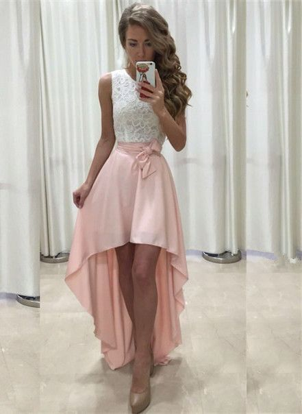 134 USD.High Low Prom Dresses,Lace Top Prom Dresses,Pink Prom ...
