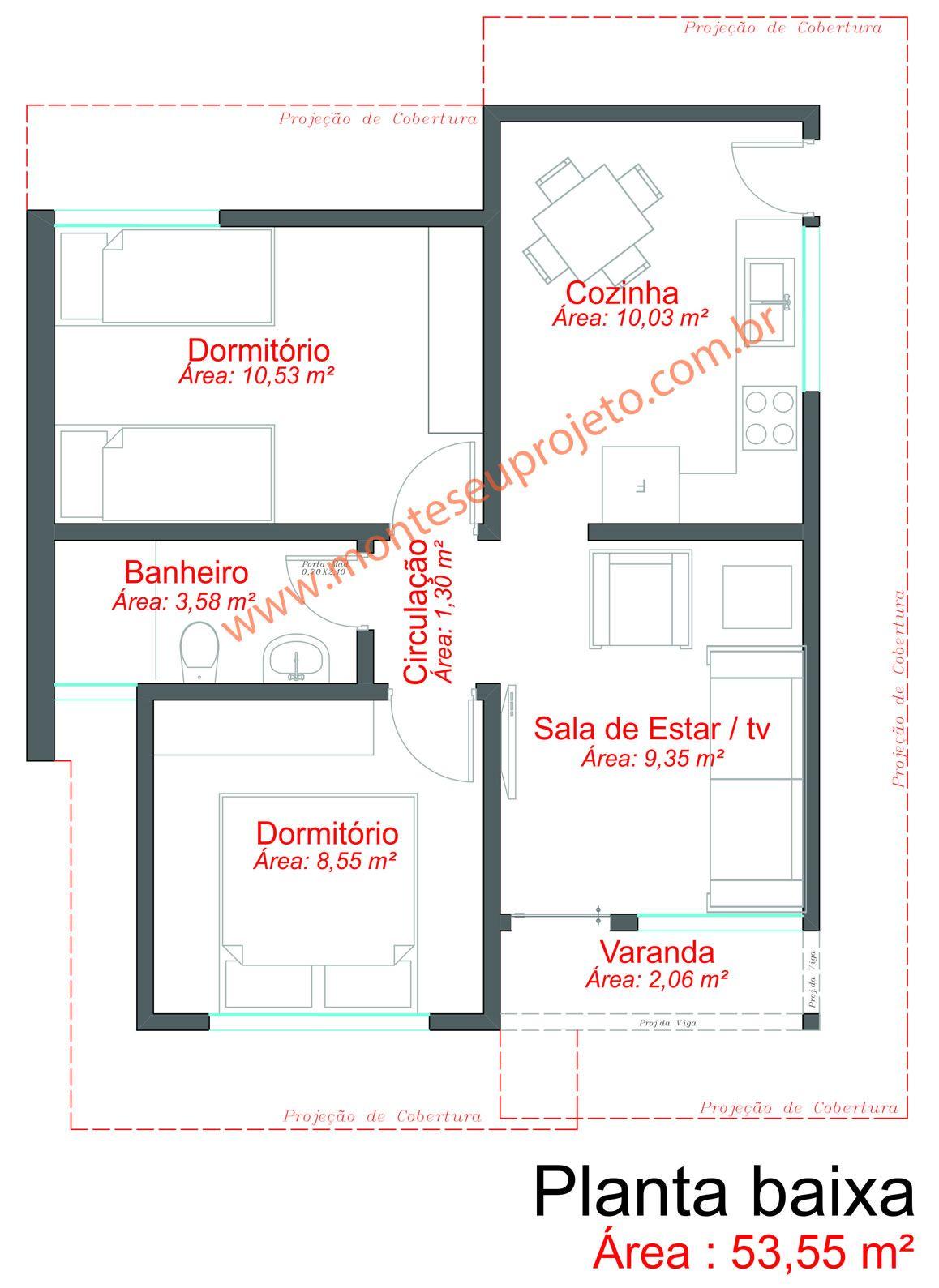 Projeto de casa 53 55 m planta baixa plantas pinterest for Sala de 9 metros quadrados