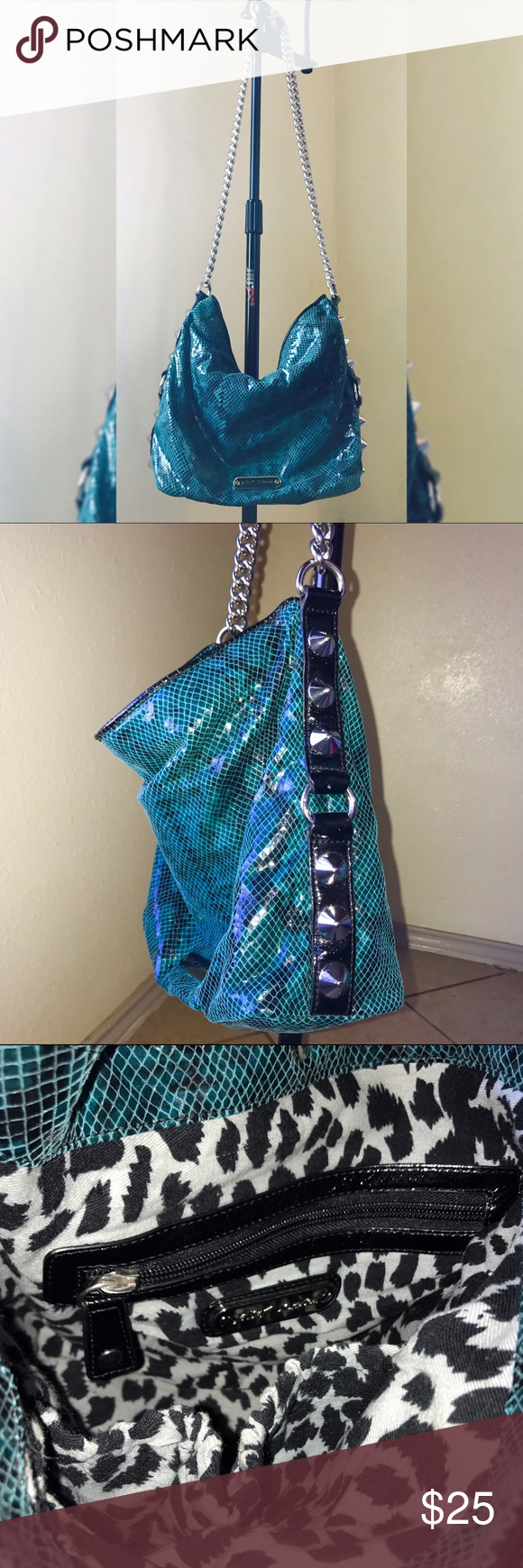 Authentic Betsey Johnson metallic snakeskin Purse Chain link, green metallic studded, snakeskin purse. Cheetah print inside lining. Like new conditions. 70%Polyester 30%Nylon 100%Cotton Betsey Johnson Bags Shoulder Bags