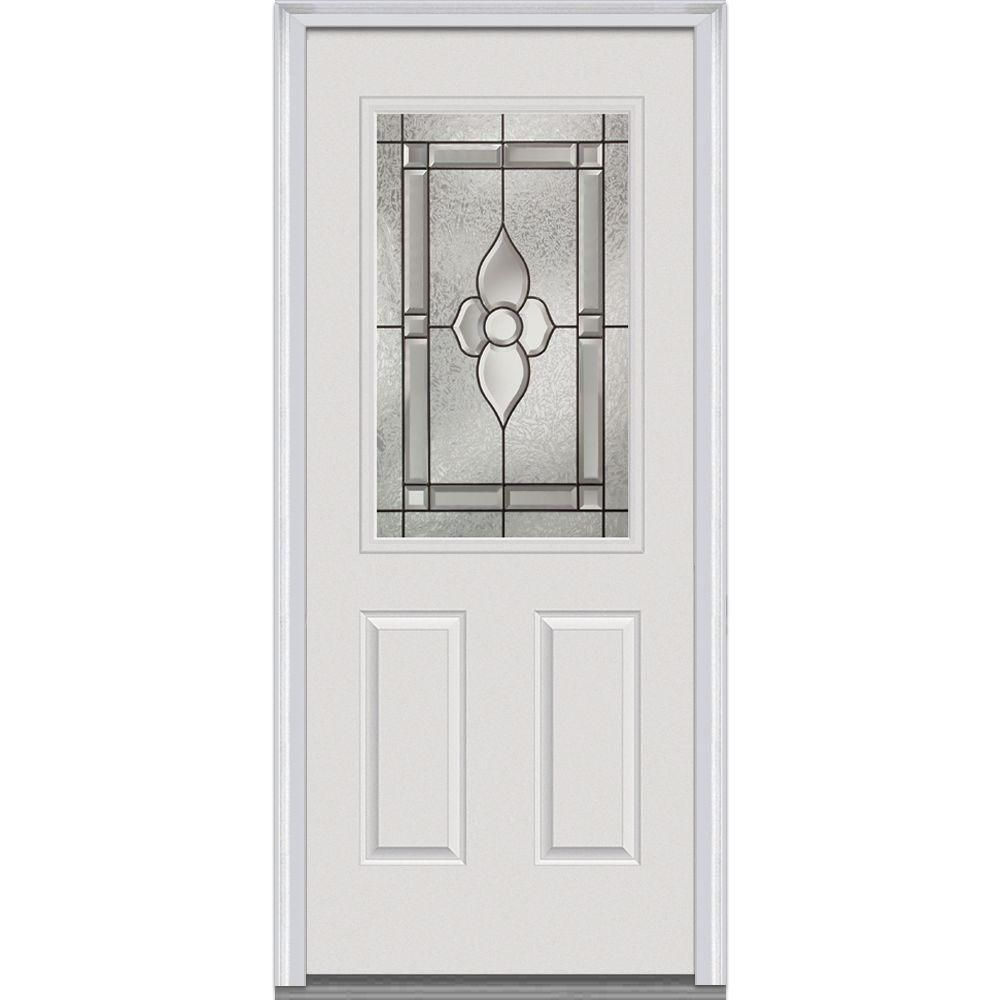 MMI Door 32 In. X 80 In. Master Nouveau Left Hand 1/2 Lite 2 Panel Classic  Primed Steel Prehung Front Door. Steel Exterior DoorsDecorative GlassFront  Doors