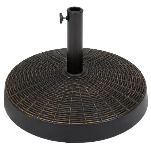 55lb Round Wicker Style Patio Umbrella Stand w/ Blackened Bronze Finish