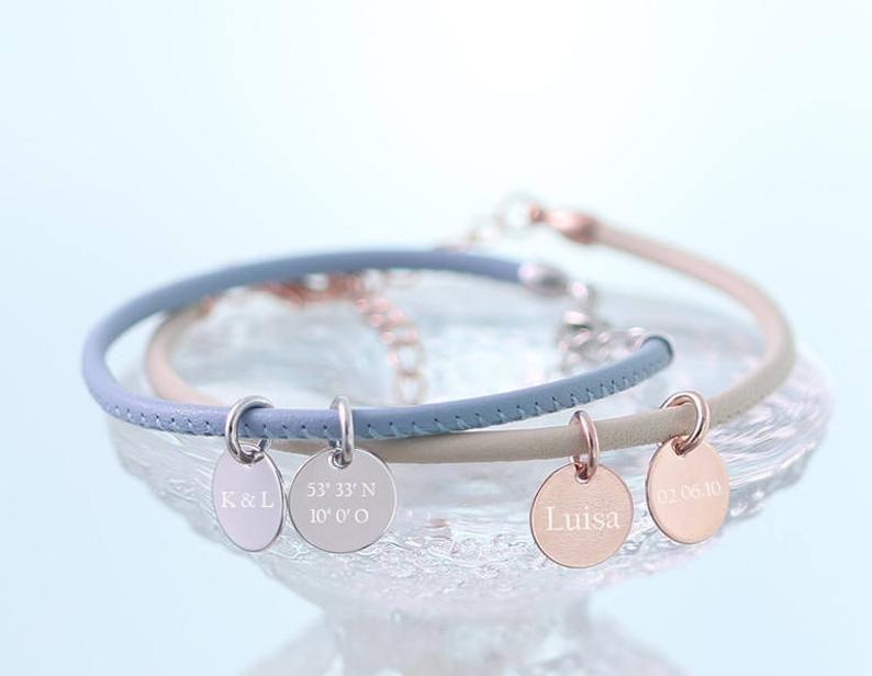 Lederarmband Personalisiertes Armband mit Gravur | Silber Gold Roségold | Mehrfarbig | Hochzeitsgeschenk | Personalisierte Geschenke | A123