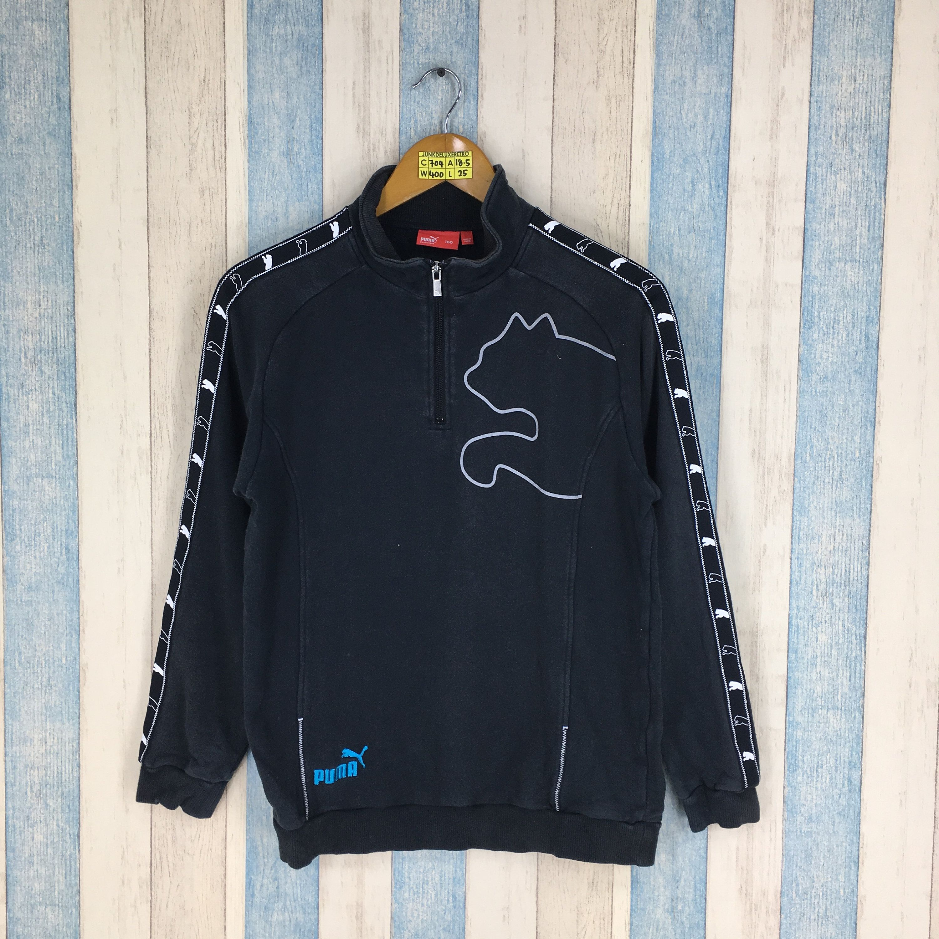 41f3903bb41ac PUMA Sweater Small Black Vintage 1990's Cougars Puma Spell Out Big ...