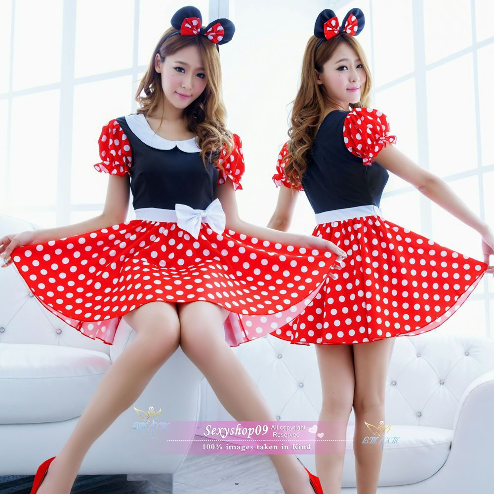 Details about 3Pcs Women Ladies Minnie Mickey Mini Mouse Costume Fancy Dress Halloween Outfit