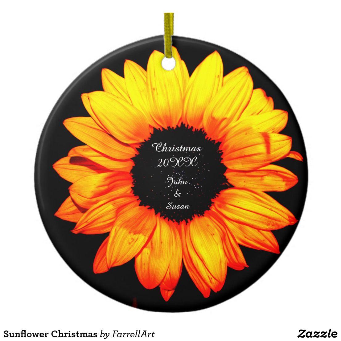Sunflower Christmas Ceramic Ornament